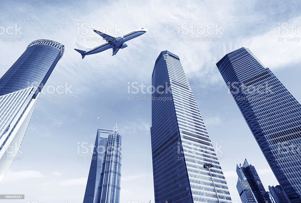 Skyscrapers and airplanes royalty-free stock photo