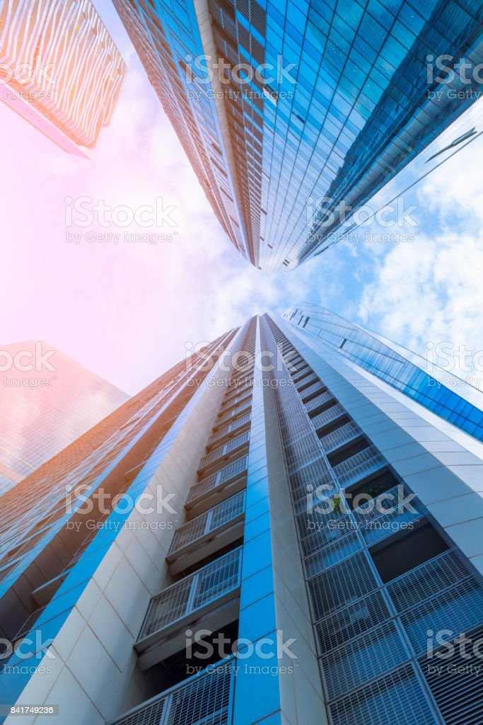 Skyscrapers and business ceter at low angle view, Business downtown and financial center of Singapore stock photo