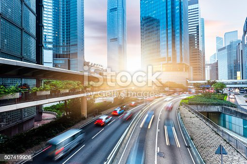 Skyscrapers and City Streets in Hong Kong, china.
