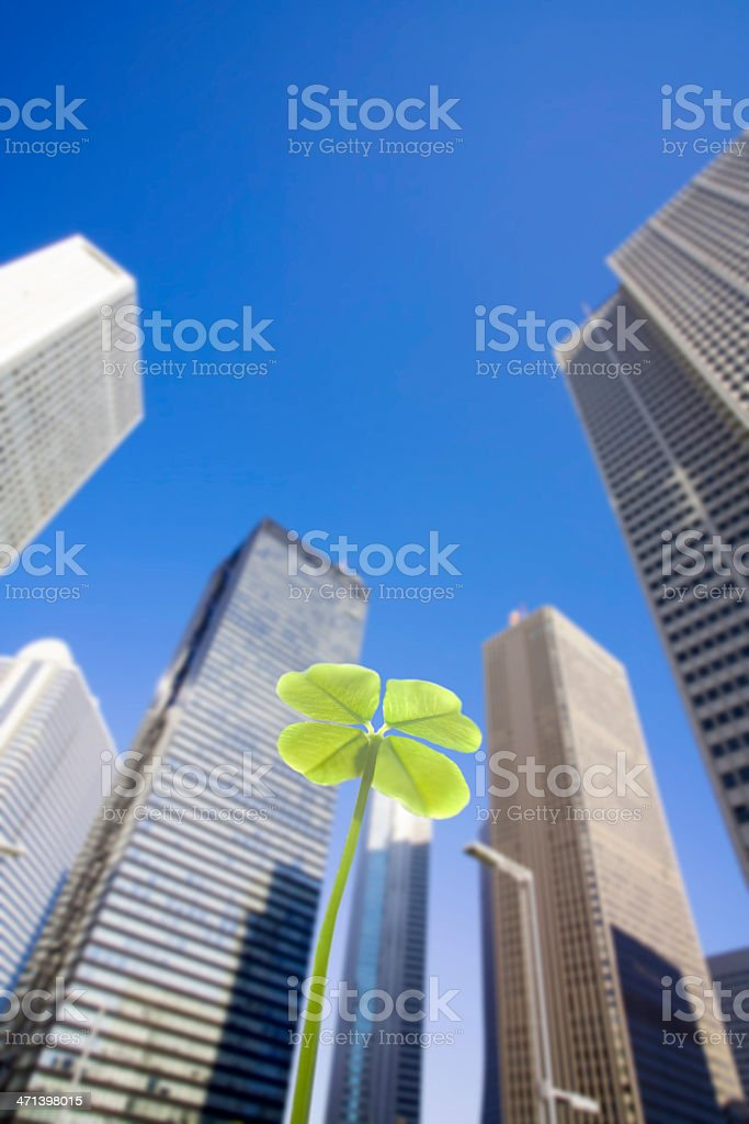 Skyscrapers and clover royalty-free stock photo