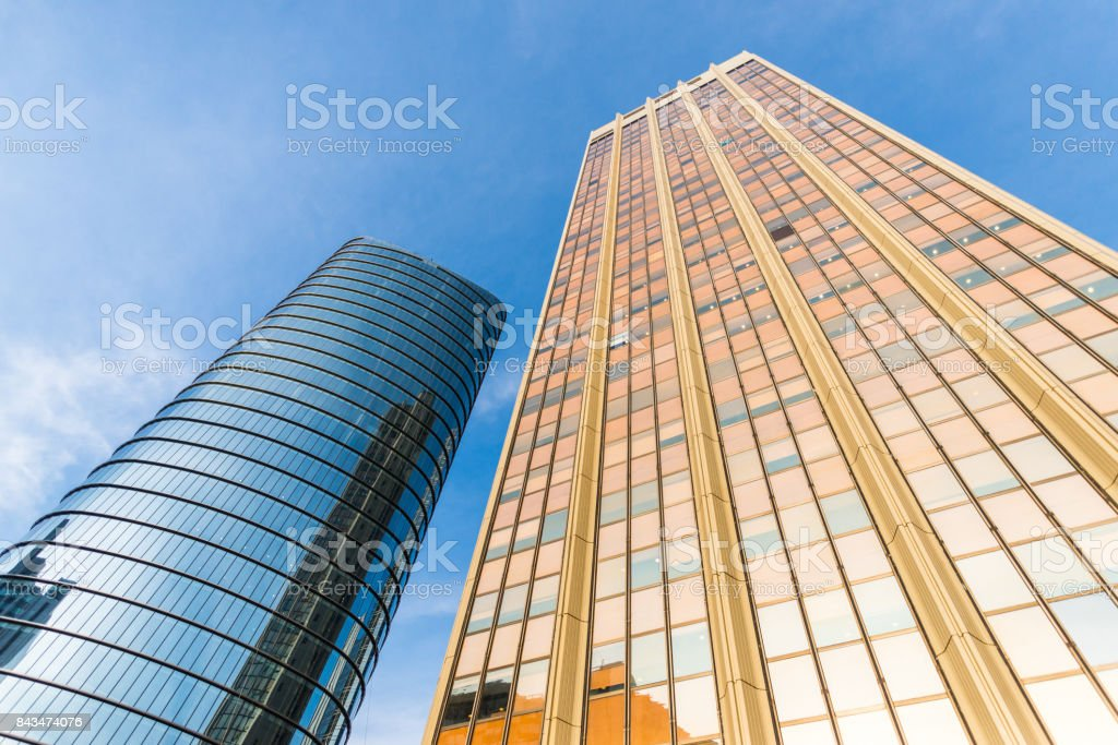 Skyscrapers and colorful tall buildings stock photo