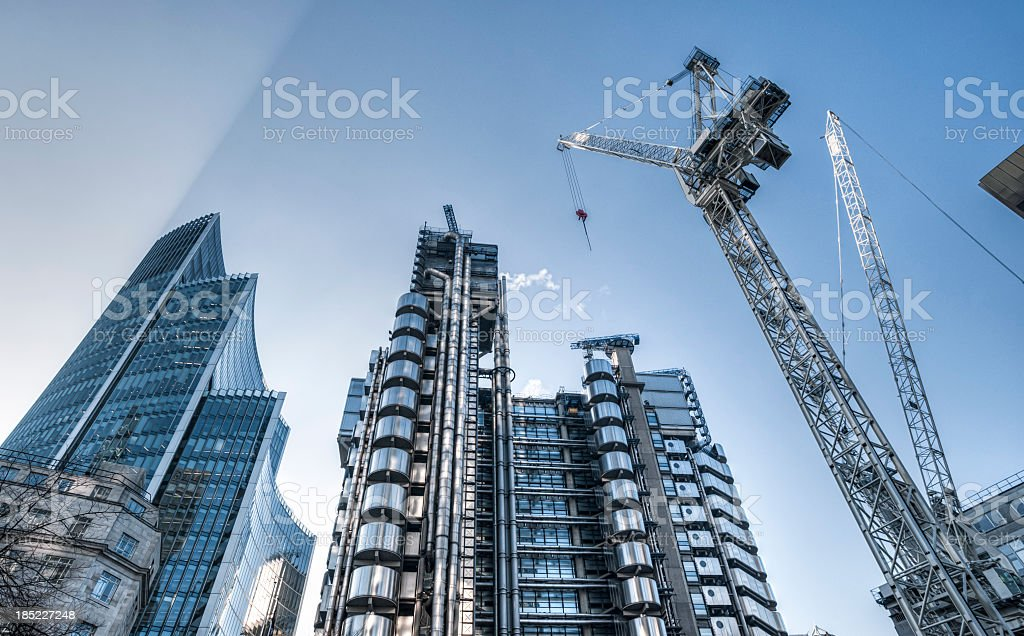 Skyscrapers and construction site in London stock photo
