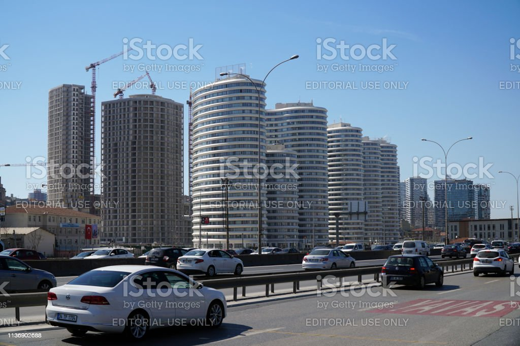 Skyscrapers and constructions at The Kadikoy-Merdivenkoy District stock photo