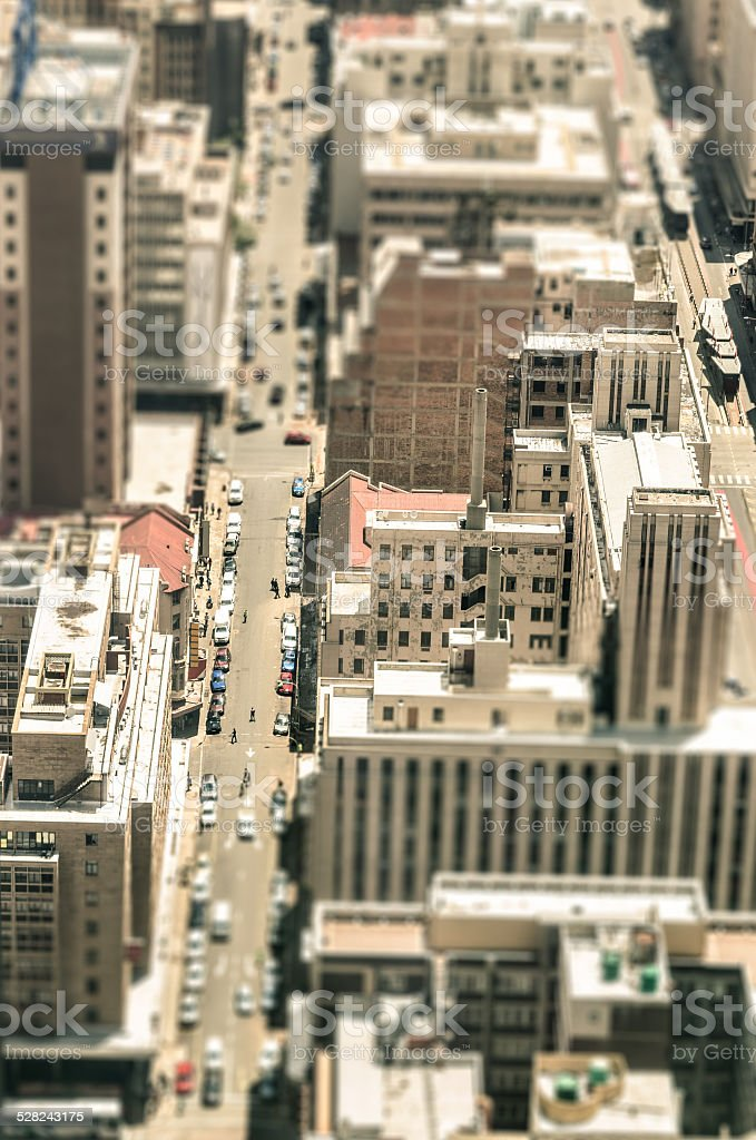 Skyscrapers and everyday people life in Johannesburg stock photo