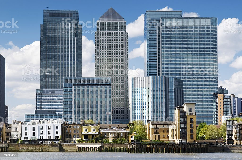 Skyscrapers and flats at Canary Wharf in London stock photo