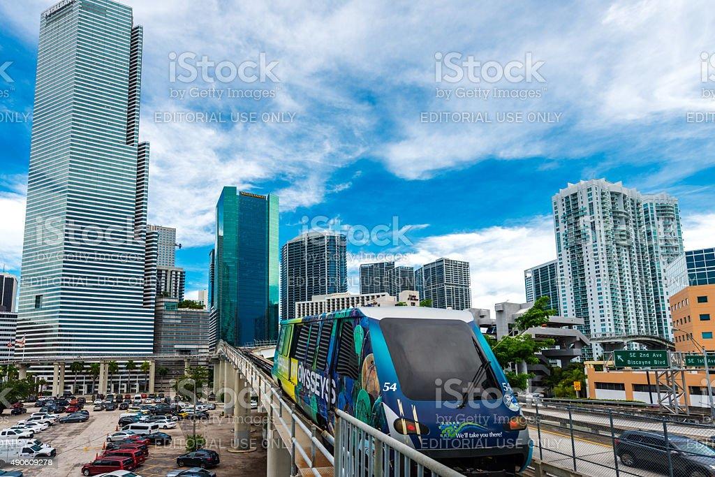 skyscrapers and metromover in Miami stock photo