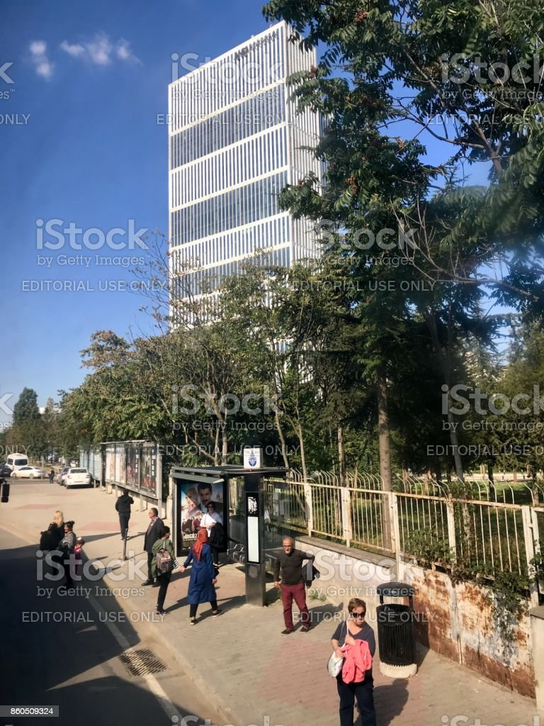 Skyscrapers and residences in Istanbul city stock photo