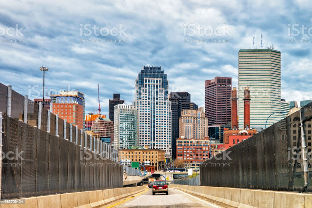 Skyscrapers and road with car traffic Boston stock photo