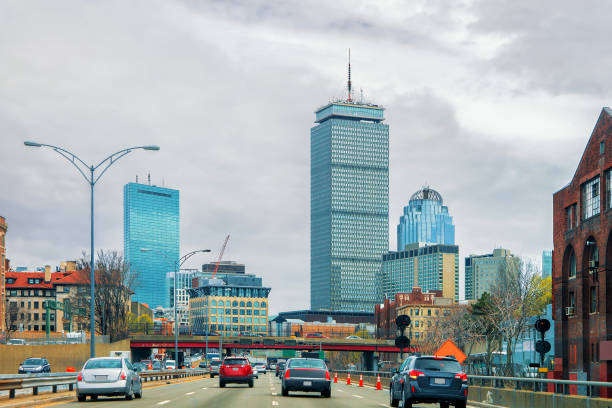 Skyscrapers and road with car traffic in Boston stock photo