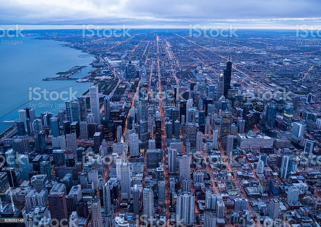 Skyscrapers and seas in Chicago stock photo