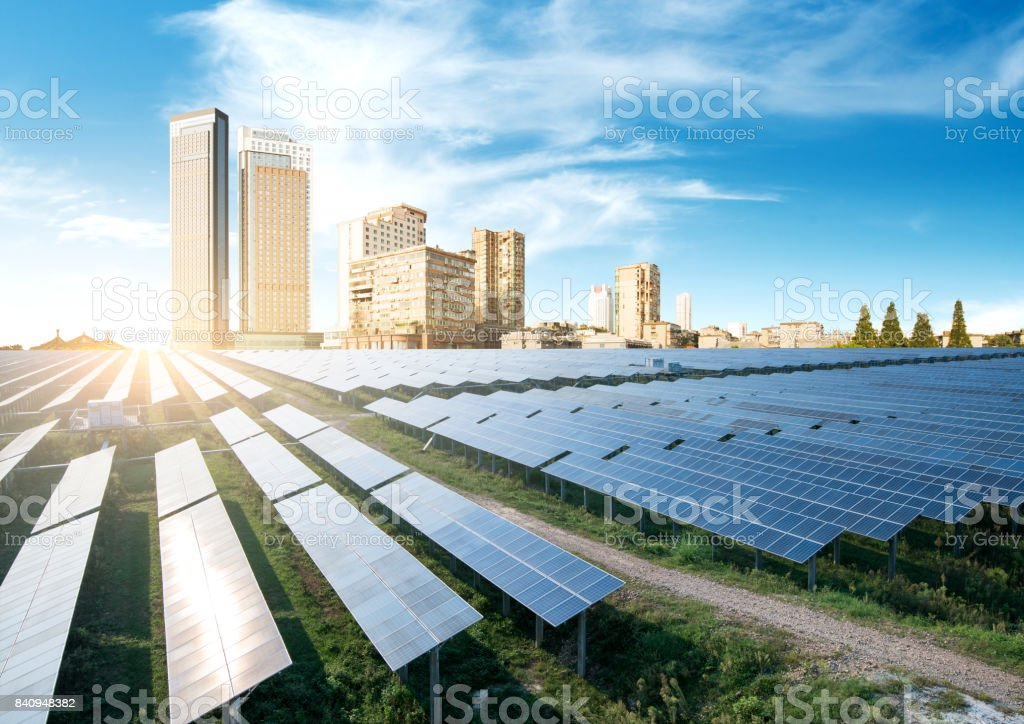Skyscrapers and solar panels, China Chongqing city landscape. stock photo