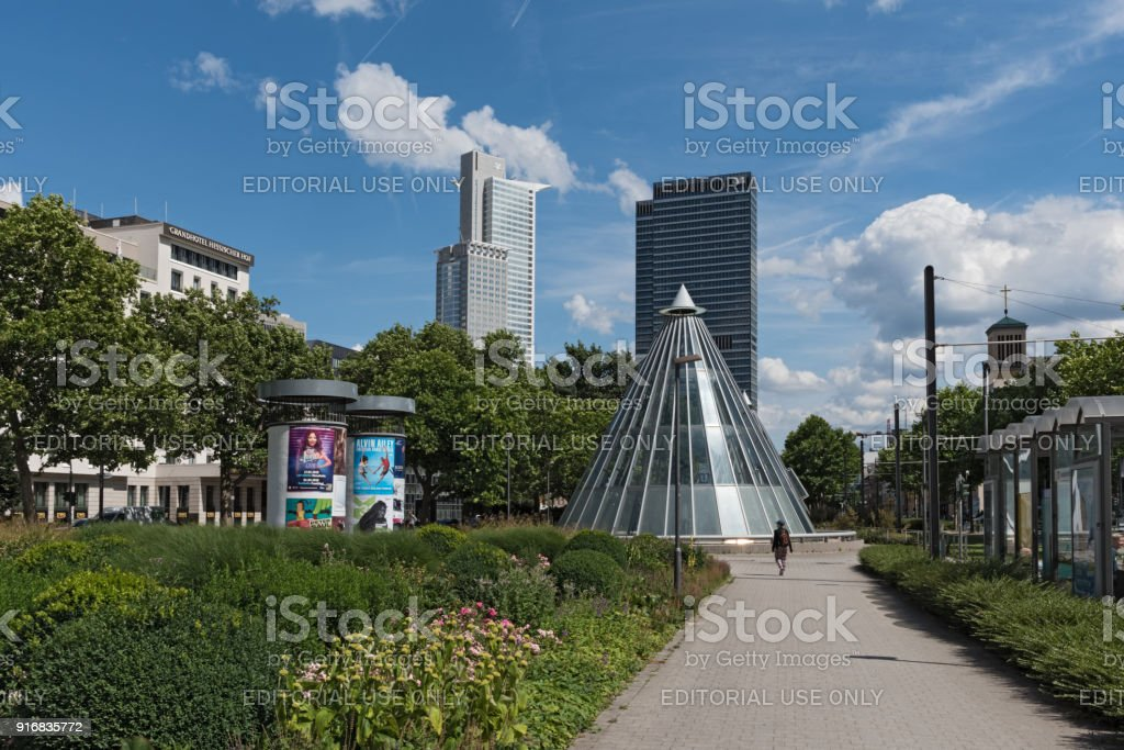 Skyscrapers and subway station at the Friedrich Ebert Anlage in Frankfurt, Germany stock photo