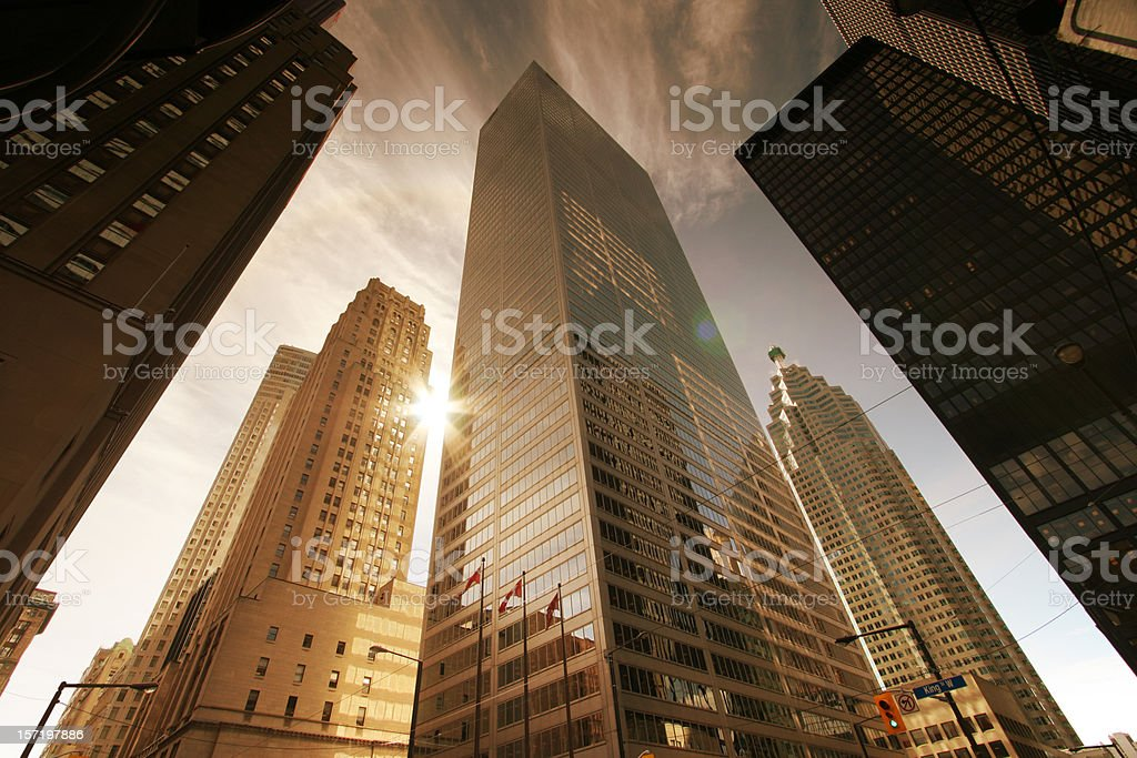 Skyscrapers and Sun stock photo