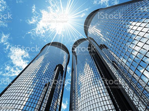 Skyscrapers And Sun Stock Photo - Download Image Now