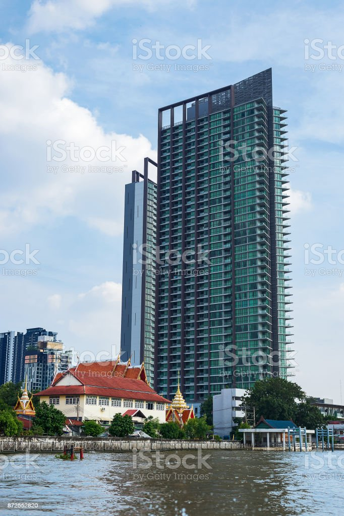 Skyscrapers and the temple. stock photo