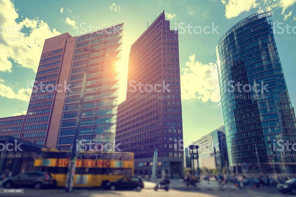 Skyscrapers at Berlin Potsdamer Platz in backlit stock photo