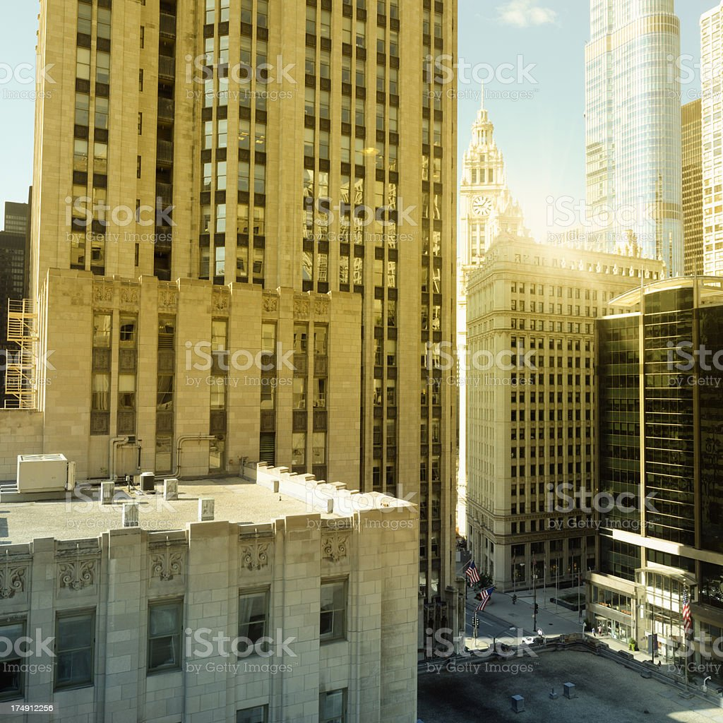Skyscrapers at Dawn,Chicago Downtown. royalty-free stock photo