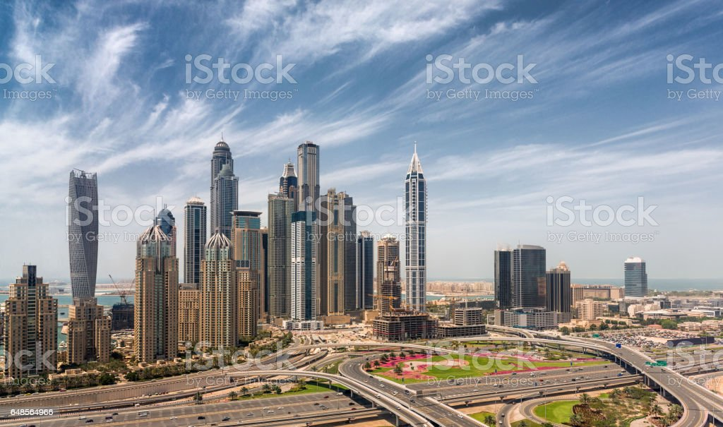 Skyscrapers at Jumeirah beach viewed from JLT stock photo