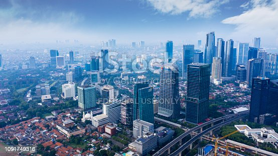 JAKARTA - Indonesia. December 12, 2018: Aerial view of skyscrapers in South Jakarta central business district at morning time