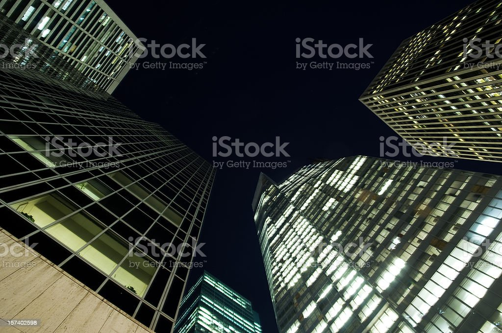 Skyscrapers at night royalty-free stock photo