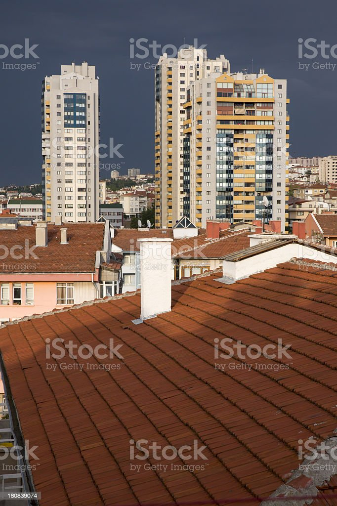 skyscrapers at overcast day royalty-free stock photo