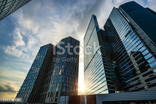 Evening view of Skyscrapers at sunset
