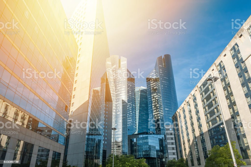 Skyscrapers at sunset stock photo