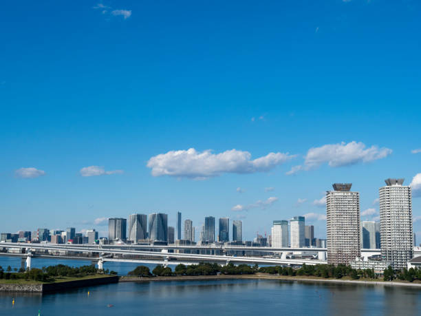 Skyscrapers at the waterfront in Tokyo. stock photo