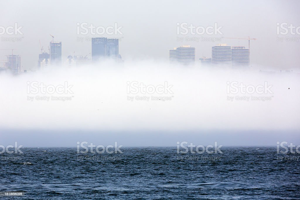skyscrapers at Very Heavy Fog royalty-free stock photo