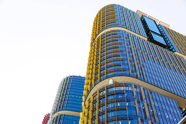 skyscrapers, background with copy space, barangaroo sydney australia - barangaroo stock photos and pictures