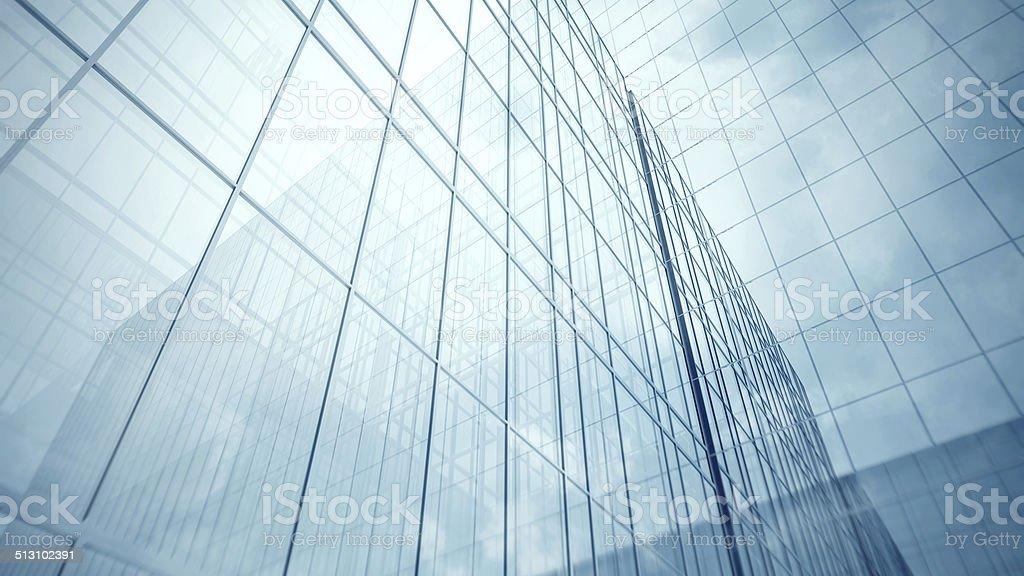 Skyscraper's blue glass walls stock photo