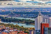 Skyscrapers by the Danube river in Vienna, Austria