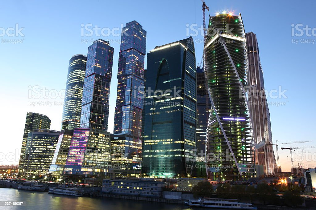 dcb5147b17c2 Cityscape, Dusk, Famous Place, National Landmark, Reflection. Skyscrapers City  international business center, Moscow ...