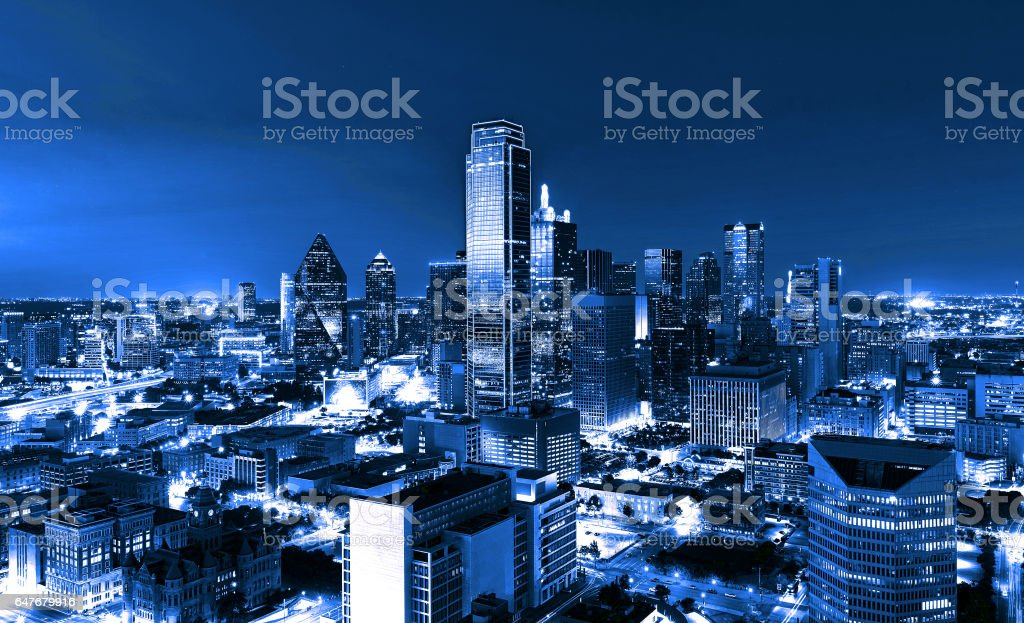 Skyscrapers, City of Dallas at night, Texas, USA stock photo