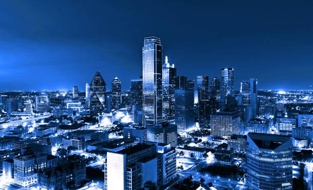 Skyscrapers, City of Dallas at night, Texas, USA stock photo