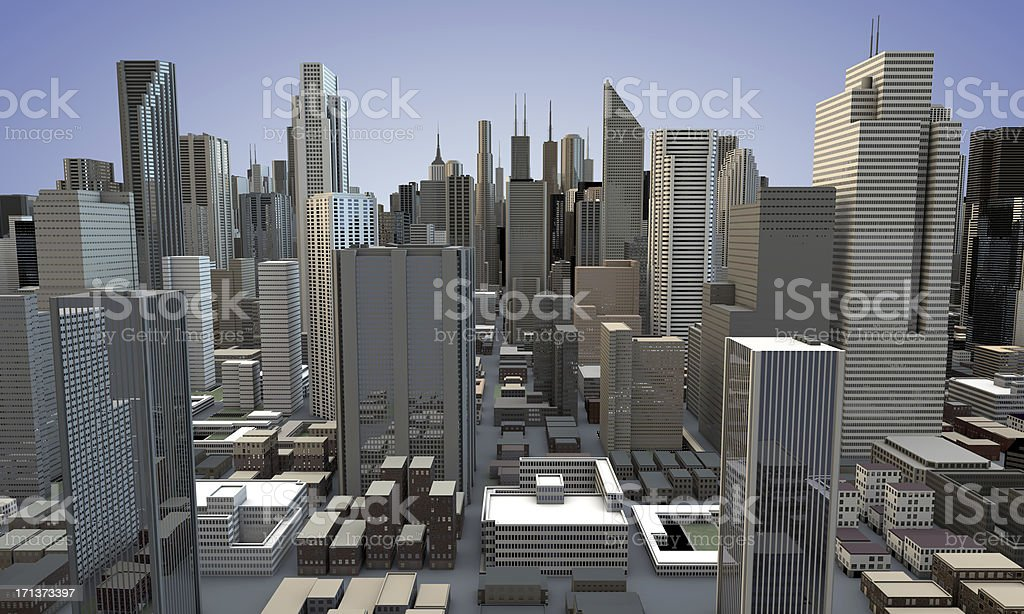 3D SkyScrapers City View stock photo