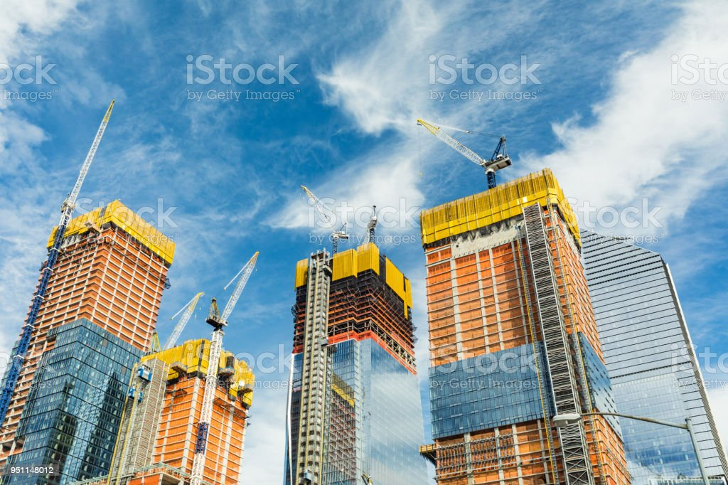 Skyscrapers construction site for modern buildings in New York royalty-free stock photo