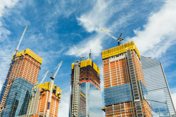 Skyscrapers construction site for modern buildings in New York stock photo