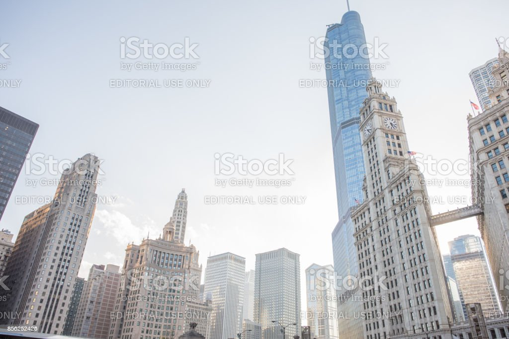 Skyscrapers downtown Chicago stock photo