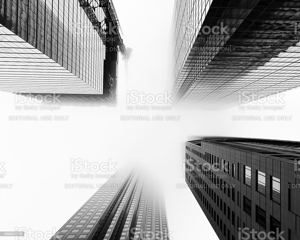 Skyscrapers during low-lying clouds and fog in Toronto stock photo