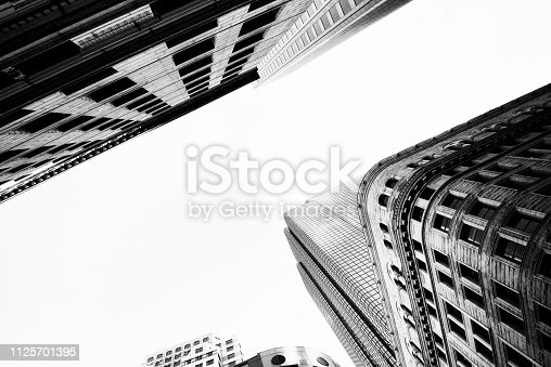 Skyscrapers from Below, Downtown Boston. Black And White.