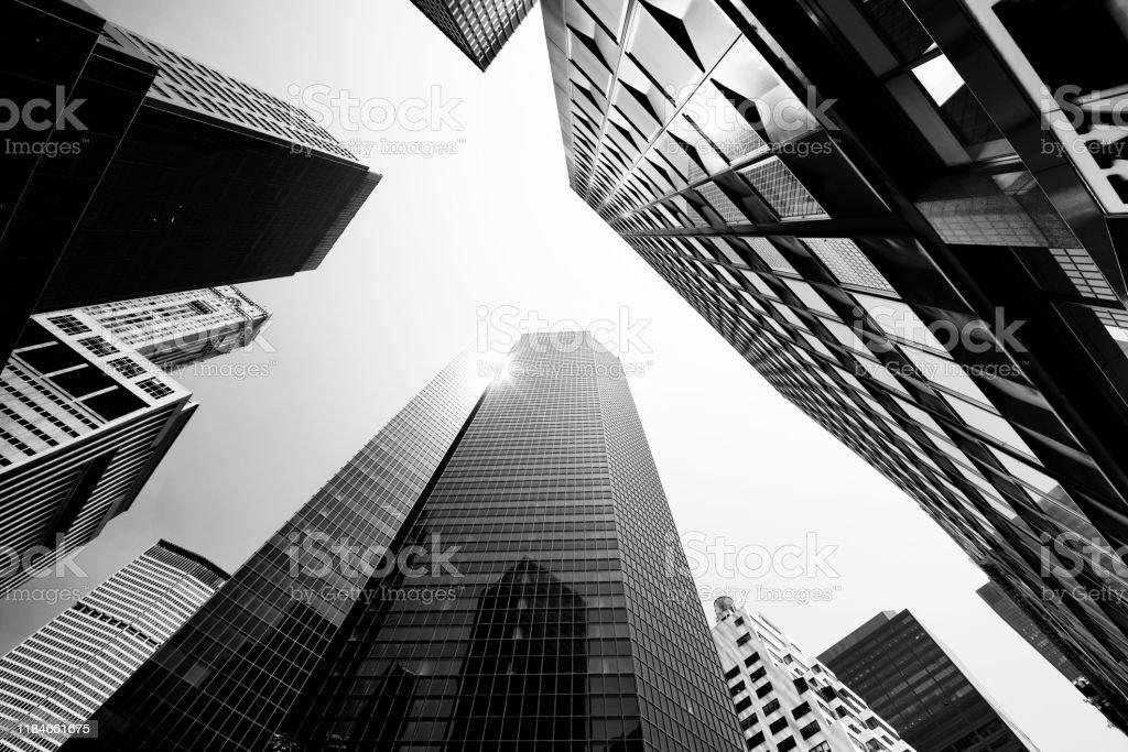 Skyscrapers from Below, Lower Manhattan. - Royalty-free Abaixo Foto de stock