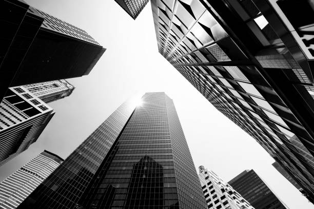 Skyscrapers from Below, Lower Manhattan. Skyscrapers from Below, Lower Manhattan. monochrome stock pictures, royalty-free photos & images