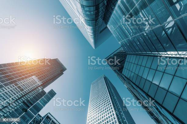 skyscrapers in a finance district from a low angle