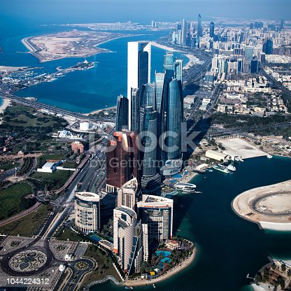 Helicopter point of view of Abu Dhabi skyscrapers.