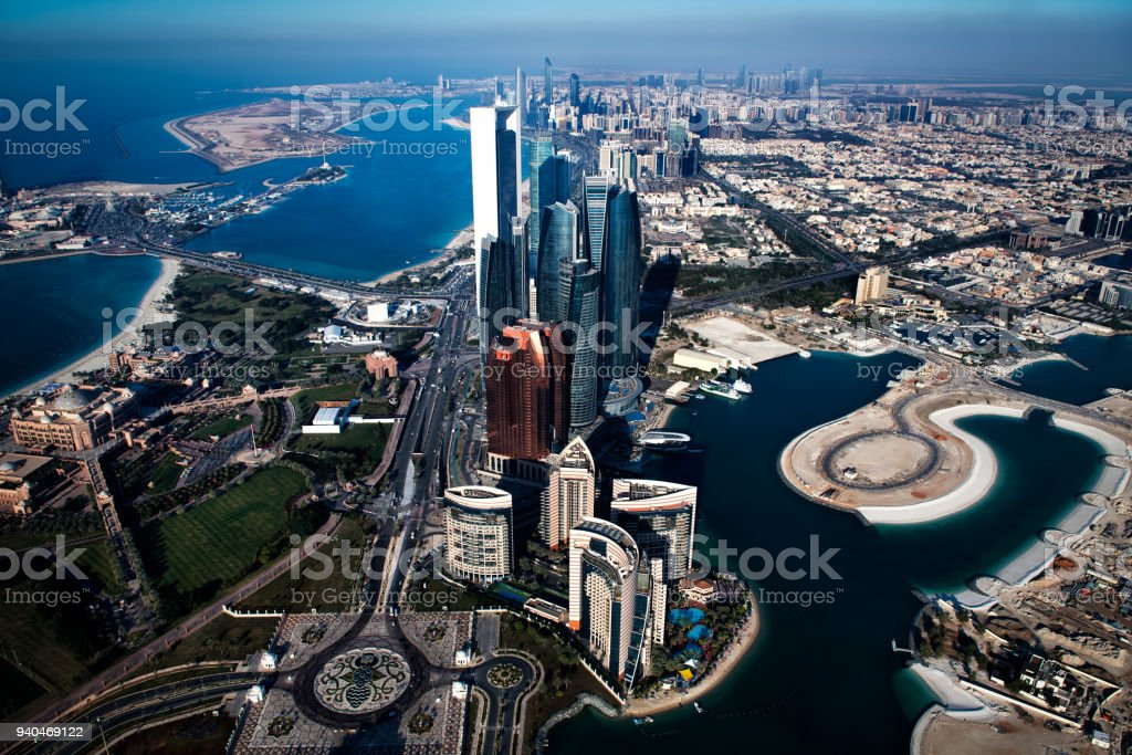 Skyscrapers in Abu Dhabi stock photo