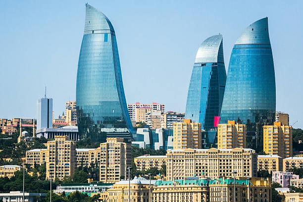 Skyscrapers in Baku stock photo