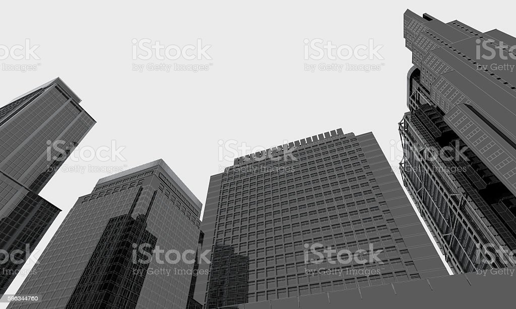 skyscrapers in business district of asia royalty-free stock photo