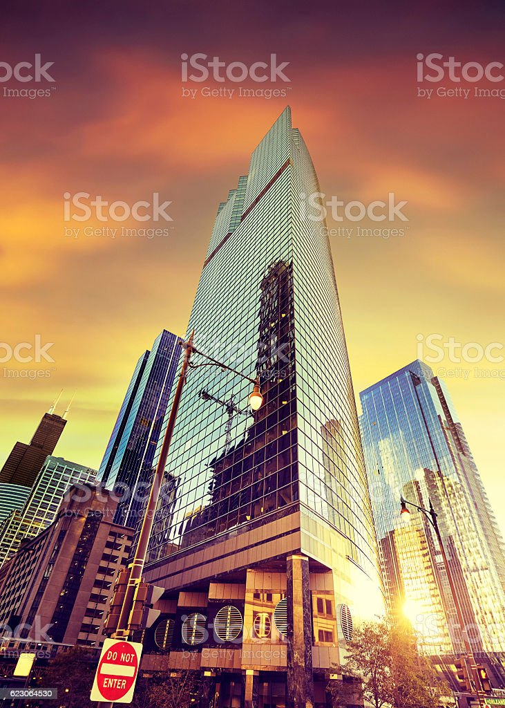 Skyscrapers in Chicago at sunset, USA. stock photo