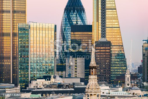 Skyscrapers in financial center City of London, London, UK.